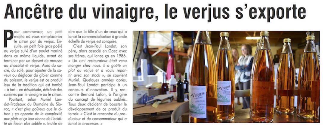 Article de presse Verjus le Périgord du Domaine du Siorac