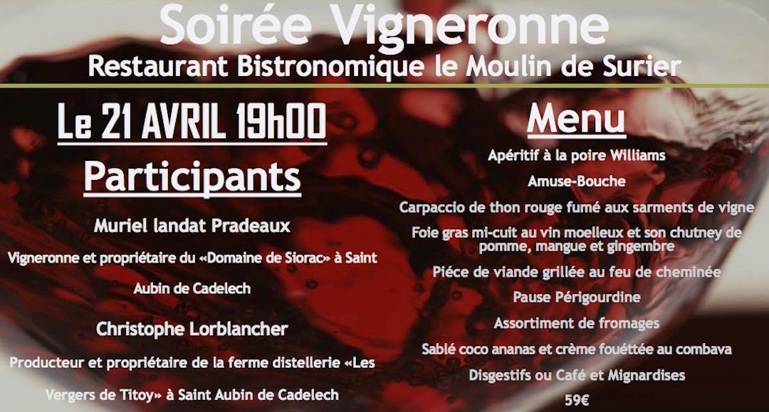 Soirée Vigneronne au Moulin de Surier avec nos vins de Bergerac