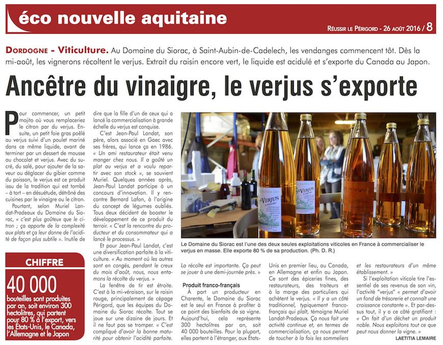 Article de presse le Verjus du Périgord, produit naturel et artisanal, s'exporte