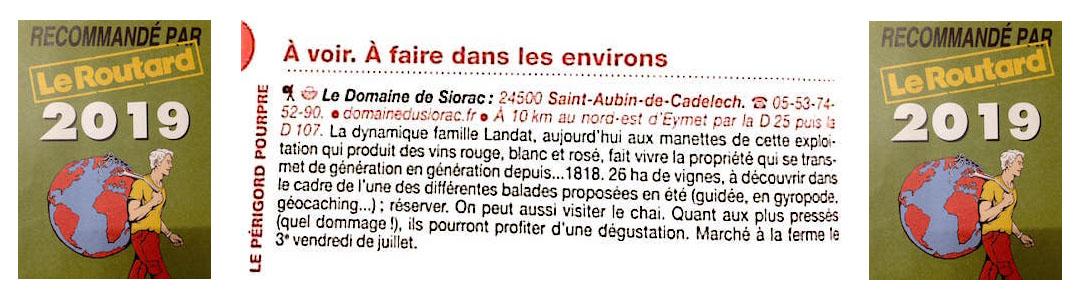 Vignoble dans le guide du routard Périgord Dordogne